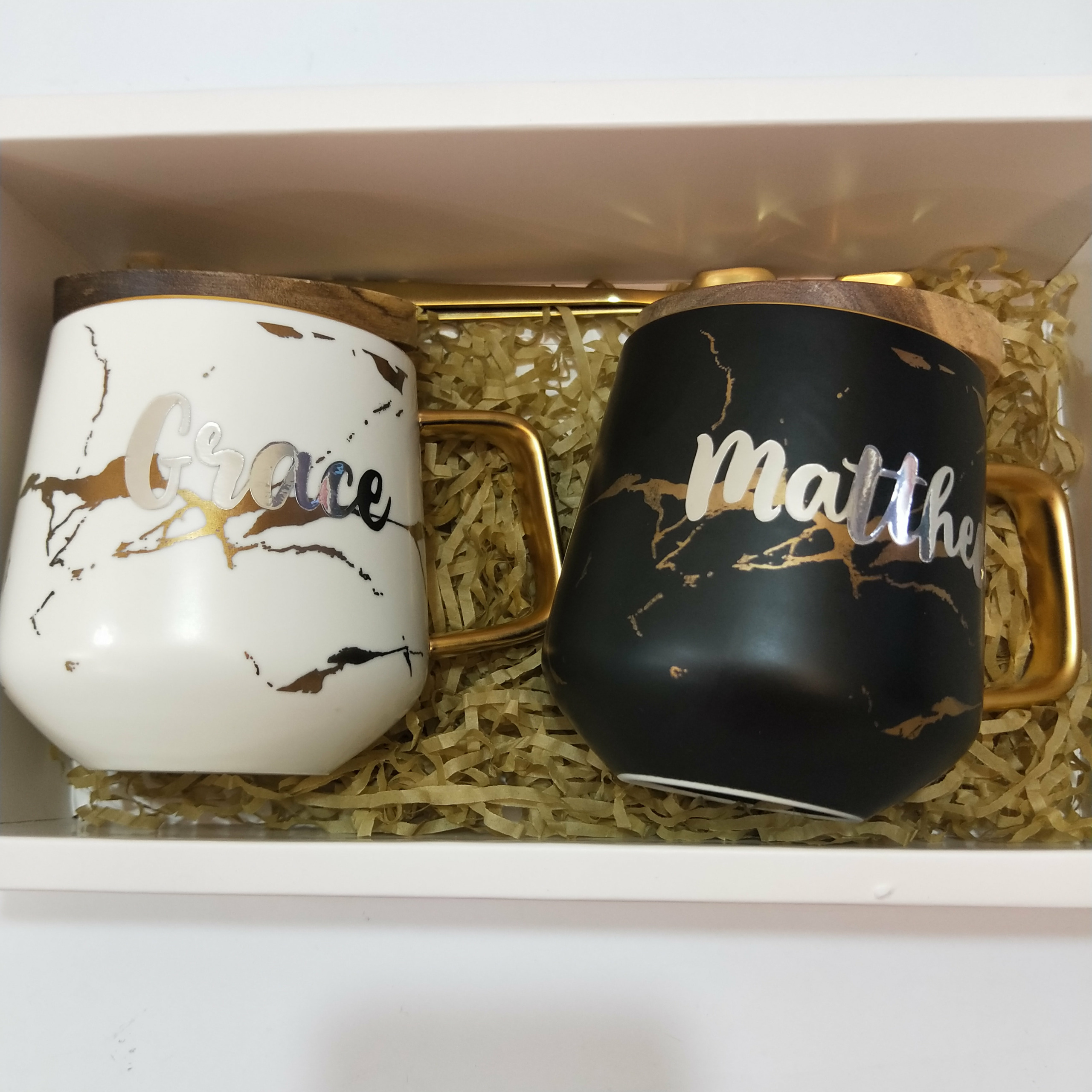 Monochrome Black White Marble Ceramic Mug Gold Vein